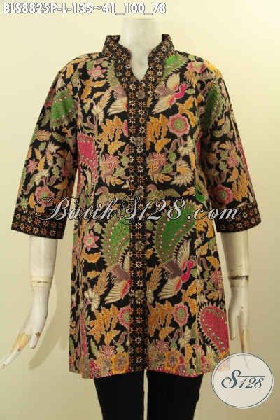 Model Busana Batik Solo Kwalitas Premium, Baju Batik Bagus Halus Model Lengan 3/4 Berpadu Dengan Kerah Shanghai Hanya 135K