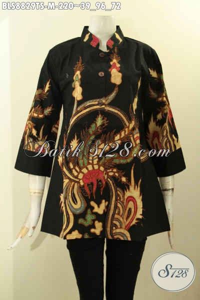 Blouse Batik Kwalitas Premium, Baju Batik Wanita Muda Lengan 3/4 Kerah Shanghai Motif Trendy Proses Tulis Soga, Tampil Cantik Dan Stylish [BLS8829TS-M]