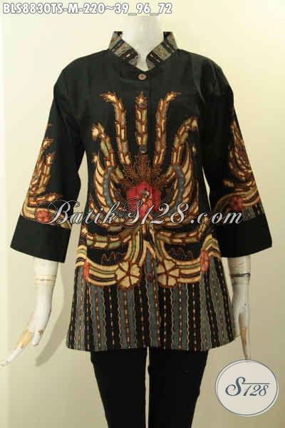 Pakaian Batik Wanita Terbaru Model Lengan 3/4, Baju Batik Solo Kekinian Dengan Kerah Shanghai Kwalitas Bagus Motif Proses Tulis, Tampil Elegan Berkelas