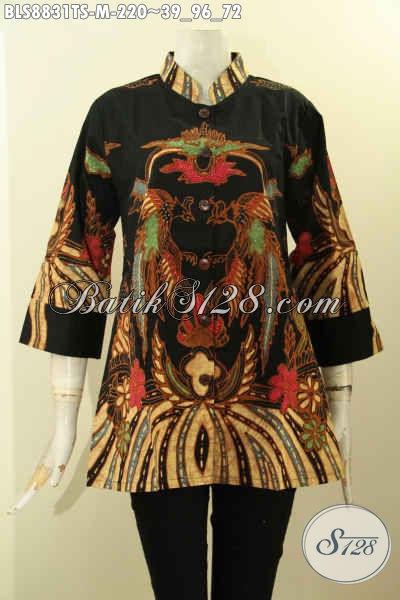Baju Batik Cewek Modis Lengan 3/4, Blouse Batik Modern Kerah Shanghai Kwalitas Istimewa Yang Menunjang Penampilan Lebih Gaya