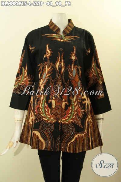 Baju Batik Wanita Solo Cocok Untuk Santai Dan Resmi, Blouse Lengan 3/4 Bahan Adem Dengan Kerah Shanghai Motif Bagus Tulis Soga Hanya 200 Ribuan [BLS8832TS-L]