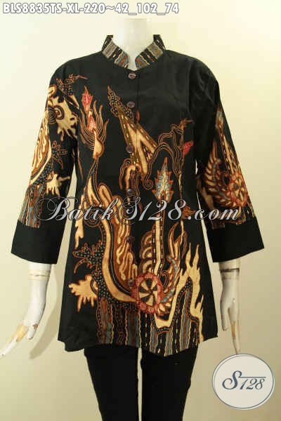 Koleksi Busana Batik Wanita Dewasa, Pakaian Batik Size XL Model Lengan 3/4 Kerah Shanghai Motif Bagus Tulis Soga, Pas Untuk Kerja