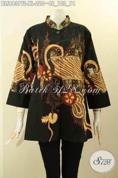 Toko Online Baju Batik Solo Terlengkap, Jual Blouse Batik Modern Kerah Shanghai Lengan 3/4 Motif Bagus Tulis Soga Desain Berkelas, Menunjang Penampilan Makin Berkelas [BLS8837TS-XL]