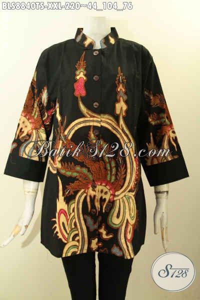 Model Baju Batik Big Size Kerah Shanghai Buatan Solo Asli, Blouse Batik Lengan 3/4 Motif Bagus Tren Masa Kini Proses Tulis Soga, Wanita Gemuk Tampil Cantik Elegan [BLS8840TS-XXL]