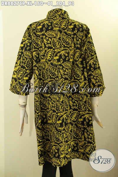 Dress Batik Wanita Dewasa Dengan Motif Kombinasi, Busana Batik Elegan Dan Mewah Model Lengan 7/8 Kerah Shanghai, Bikin Penampilan Mempesona [DR8827C-XL]