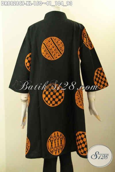 Jual Busana Batik Wanita Kombinasi Motif Nan Trendy, Dress Batik Solo Lengan 7/8 Berpadu Kerah Shanghai, Tampil Modis Dan Berkelas [DR8828C-XL]