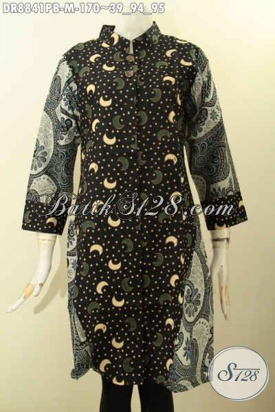 Dress Batik Modern Yang Bikin Wanita Muda Tampil Modi Dan Gaya, Busana Batik Trendy Kerah Shanghai Lengan 7/8, Cocok Buat Kerja Dan Hangout [DR8841PB-M]