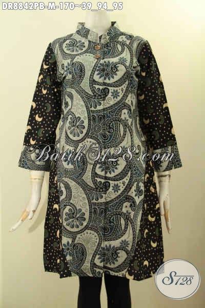 Batik Dress Wanita Motif Kombinasi Proses Printing Cabut, Busana Batik Elegan Nan Mewah Desain Kerah Shanghai Lengan 7/8, Tampil Cantik Dan Anggun