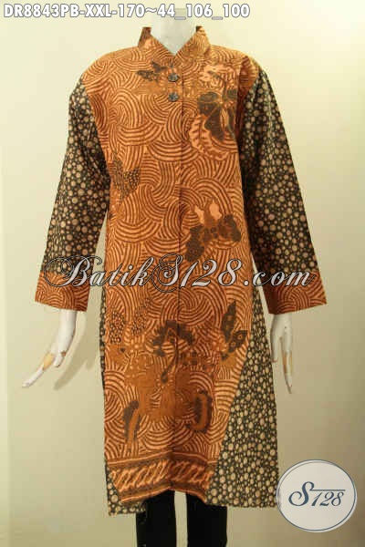 Baju Batik Dress Solo Kombinasi Motif, Pakaian Batik Elegan Lengan 7/8 Kerah Shanghai Proses Printing Cabut, Tampil Berkelas Dan Istimewa Hanya 170K [DR8843PB-XXL]