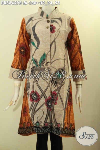 Baju Batik Kombinasi, Dress Batik Wanita Muda Yang Ingin Tampil Gaya Dan Mempesona, Bahan Adem Desain Lengan 7/8 Kerah Shanghai