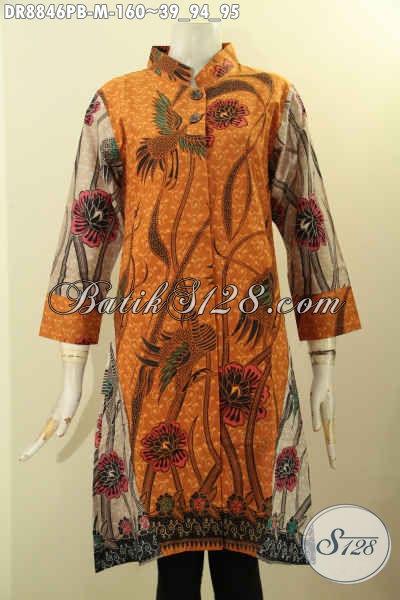 Baju Batik Solo Terkini Nan Elegan, Dress Batik Solo Halus Bahan Adem Motif Kombinasi Model Kerah Shanghai Lengan 7/8, Cocok Banget Untuk Acara Resmi