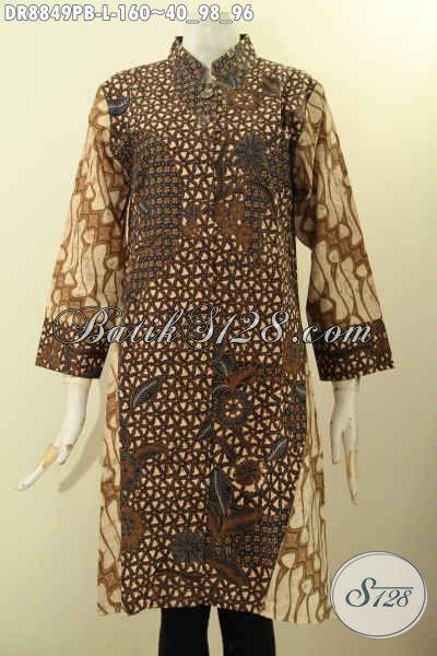Model Baju Batik Wanita Size L, Dress Batik Elegan Nan Berkelas Bahan Adem Proses Printing Cabut Motif Klasik, Pakaian BatikNan Berkelas, Bisa Buat Ngantor Atau Kondangan