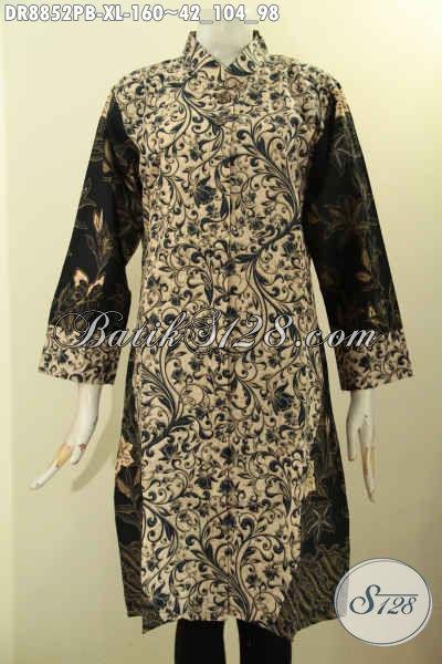 Jual Online Pakaian Batik Kerja Wanita Muda Dan Dewasa, Batik Dress Solo Kerah Shanghai Motif Kombinasi Lengan 7/8 Trend Mode Kekinian Hanya 160K