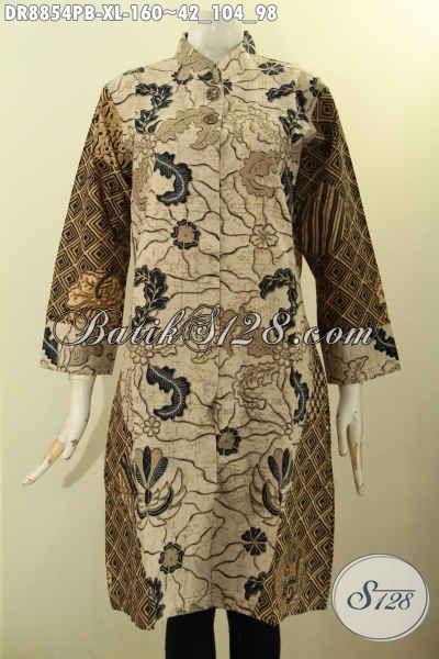 Baju Batik Wanita Dewasa Lengan 7/8, Batik Dress Solo Halus Motif Kombinasi Desain Kerah Shanghai, Pas Banget Untuk Acara Resmi
