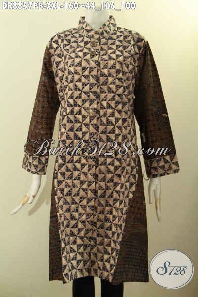 Model Baju Batik Dress Elegan Lengan 7/8, Busan Batik Motif Klasik Kekinian Bahan Adem Proses Printing Cabut Dengan Kerah Shanghai Hanya 100 Ribuan
