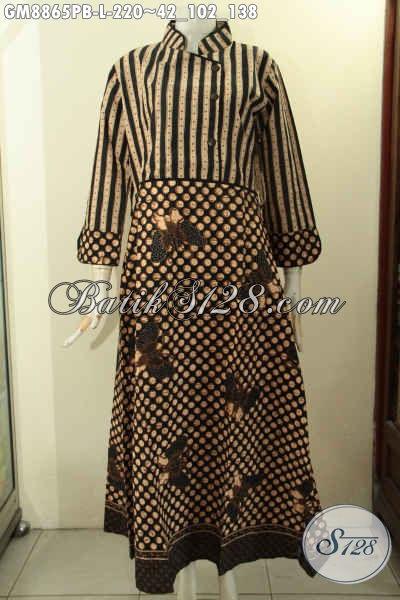 Baju Batik Gamis Elegan Kwalitas Bagus Model Terbaru, Produk Gamis Batik Mewah Kerah Shanghai Berpadu Dengan Plisir Polos Resleting Belakang, Pas Buat Acara Resmi