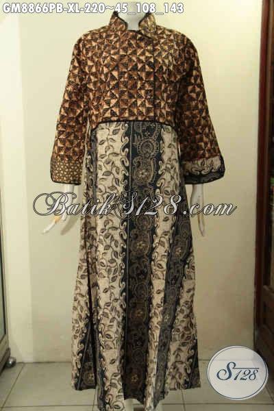 Model Terbaru Gamis Batik Untuk Wanita Tampil Anggun Mempesona, Baju Batik Syar'i Kekinian Khas Jawa Tengah Dengan Bahan Halus Dan Adem Nyaman Untuk Aktifitas Harian [GM8866PB-XL]
