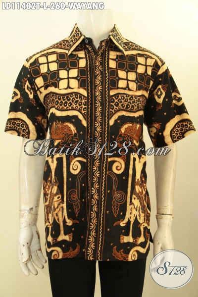 Baju Batik Hem Elegan Untuk Kondangan Model Lengan Pendek, Busana Batik Tulis Motif Wayang Warna Klasik Nan Berkelas, Cocok Juga Buat Ngantor [LD11402T-L]