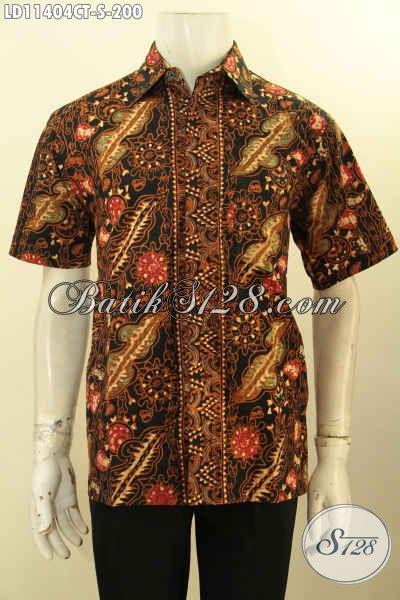 Batik Kemeja Solo Lengan Pendek Desain Keren Motif Elegan, Pakaian Batik Kerja Pria Muda Proses Cap Tulis, Bikin Penampilan Nan Mempesona [LD11404CT-S]