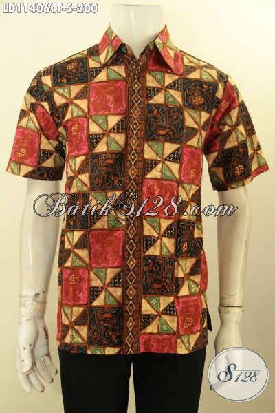 Baju Batik Hem Modis Lengan Pendek Untuk Pria Tampil Stylish, Busana Batik Cap Tulis Desain Trendy Harga Terjangkau
