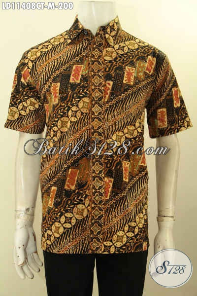 Baju Batik Pria Muda Karir Katif, Kemeja Batik Kerja Lengan Pendek Motif Klasik Cap Tulis, Modis Juga Buat Kondangan