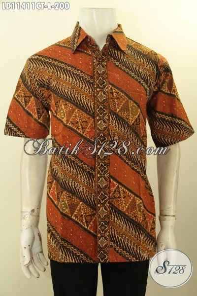 Kemeja Batik Solo Modern, Hem Batik Modis Keren Bahan Halus Kwalitas Istimewa, Baju Batik Lengan Pendek Cowok Untuk Penampilan Gagah Mempesona