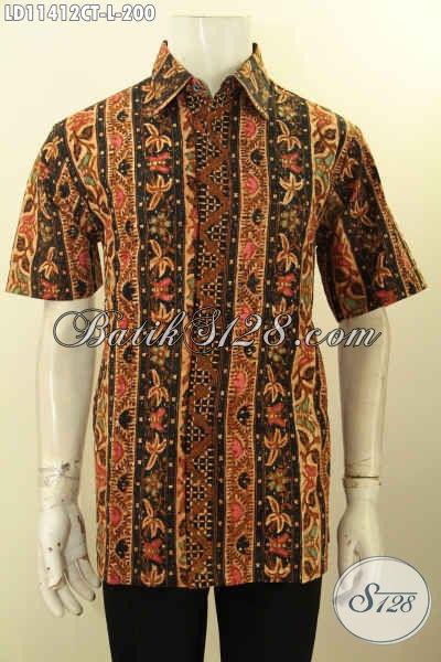 Kemeja Batik Kerja Keren Elegan Bahan Halus Model Lengan Pendek Kekinian, Baju Batik Modis Bahan Halus Kwalitas Istimewa, Penampilan Gagah Mempesona [LD11412CT-L]