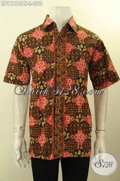 Baju Batik Atasan Untuk Pria, Kemeja Lengan Pendek Batik Solo Asli Proses Cap Tulis Kwalitas Bagus Bahan Adem Nyaman Di Pakai Hanya 200K [LD11413CT-L]