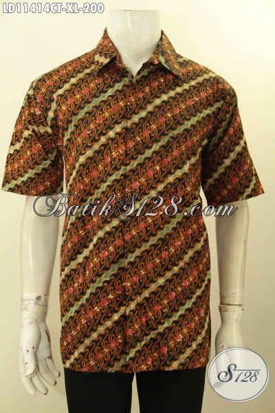 Busana Batik ELegan Model Lengan Pendek, Pakaian Batik Pria Size XL Bahan Adem Proses Cap Tulis, Tampil Lebih Gagah Dan Berkelas