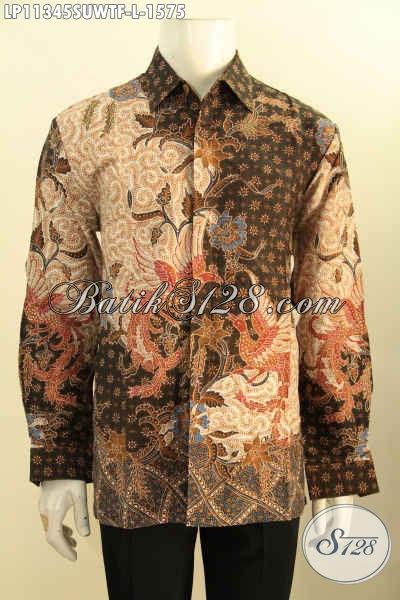 Baju Kemeja Batik Mewah Kesukaan Pejabat Nan Eksekutif, Busana Batik Tulis Asli Bahan Sutra Model Lengan Panjang Daleman Pakai Furing, Penampilan Lebih Gagah Menawan