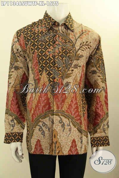 Jual Kemeja Batik Sutra Motif Mewah Tulis Tangan Asli, Produk Busana Batik Premium Khas Jawa Tengah Desain Formal Lengan Panjang Full Furing, Tampil Makin Sempurna Dan Berkelas