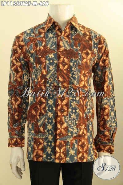 Baju Kemeja Batik Solo Masa Kini Kwalitas Bagus Lengan Panjang Motif Tulis Warna Alam, Cocok Untuk Acara Resmi Dan Kondangan