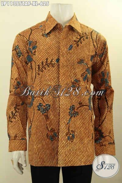 Kemeja Batik Solo Asli Tulis Warna Alam, Pakaian Batik Mewah Model Lengan Panjang Bahan Adem Daleman Full Furing, Cocok Untuk Rapat Atau Ke Kondangan
