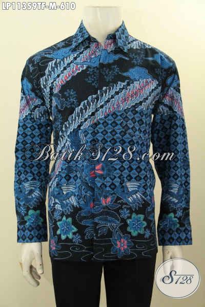 Jual Kemeja Batik Solo Lengan Panjang Full Furing Warna Biru Hitam, Busana Batik Solo Asli Tulis , Elegan Untuk Kondangan Dan Berkelas Buat Ngantor