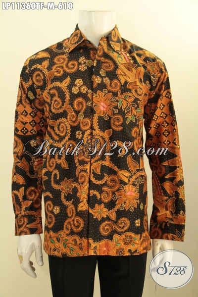 Baju Batik Pria Premium, Kemeja Batik Modis Elegan Lengan Panjang Full Furing Motif Klasik Proses Tulis, Tampil Gagah Menawan