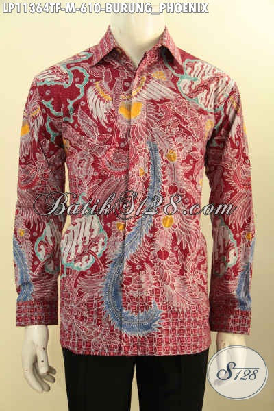 Koleksi Busana Batik Mewah Lengan Panjang Solo Terkini, Baju Batik Premium Warna Merah Full Furing Motif Elegan Tulis Asli, Tampil Gagah Menawan