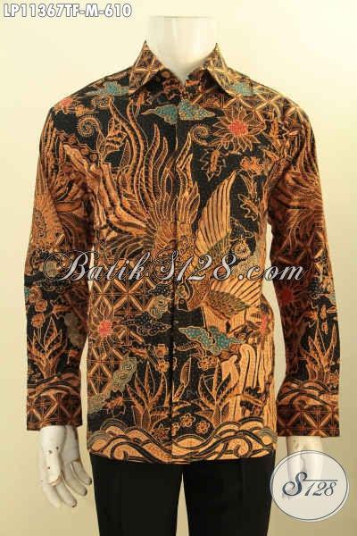 Baju Batik Pria Size M, Pakaian Batik Mewah Lengan Panjang Jawa Tengah, Busana Batik Solo Istimewa Bahan Adem Full Furing Motif Klasik Tulis Asli Hanya 625K