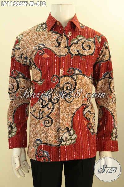Batik Hem Solo Premium Lengan Panjang Mewah, Busana Batik Elegan Full Furing Motif Bagus Banget Tulis Asli Hanya 600 Ribuan Saja [LP11368TF-M]