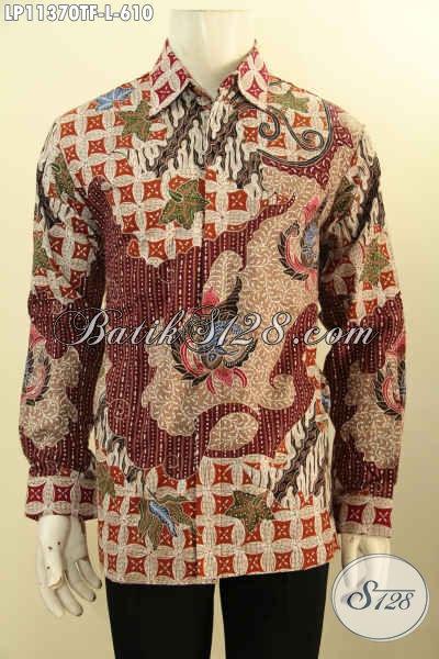 Baju Batik Pria Tren Masa Kini Model Lengan Panjang Full Furing, Busana Batik Premium Tulis Asli Bahan Adem Motif Mewah, Cocok Untuk Kondangan Atau Acara Formal