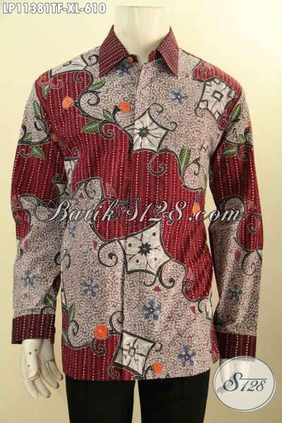Desain Baju Batik Pria Modern Lengan Panjang Nan Mewah, Busana Batik Solo Halus Tulis Asli Motif Bagus Di Lengkapi Lapisan Furing Untuk Kerja Dan Acara Formal