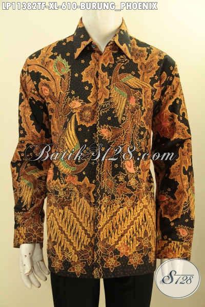 Model Baju Batik Formal Pria Lengan Panjang Mewah Full Furing, Busana Batik Solo Motif Burung Phoenix Proses Tulis Mewah Harga Terjangkau