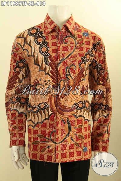 Batik Hem Halus Mewah Lengan Panjang Full Furing, Busana Batik Istimewa Bahan Adem Motif Klasik Tulis Asli, Cowok Tampil Gagah Dan Tampan Menawan