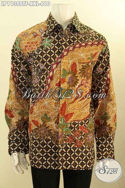 Pakaian Batik Mewah Halus Lengan Panjang Full Furing Big Size, Busana Batik Premium Nan Berkelas Motif Klasik Proses Tulis, Penampilan Lebih Istimewa