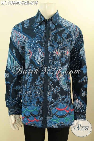 Jual Baju Kemeja Batik Jumbo XXL, Hem Batik Tulis Asli Model Lengan Panjang Istimewa Daleman Full Furing Koleksi Terbaru Untuk Pria Gemuk Tampil Tampan Menawan [LP11389TF-XXL]