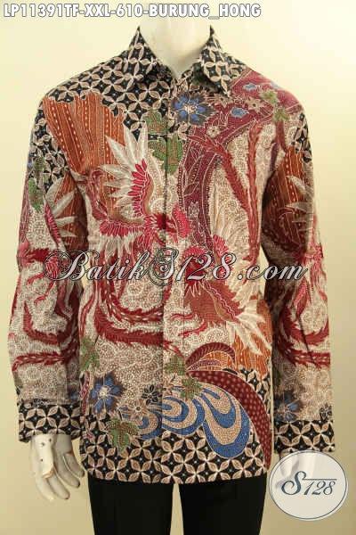 Batik Kemeja Solo Premium Lengan Panjang Mewah Halus Full Furing, Busana Batik Istimewa Bahan Adem Motif Elegan Klasik Size XXL, Pas Untuk Lelaki Gemuk Karir Aktif