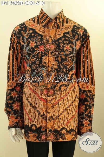 Model Pakaian Batik Kerja Pria Gemuk Lengan Panjang Size XXXL, Busana Batik Kemeja Mewah Full Furing Motif Elegan Klasik Tulis Asli Hanya 600 Ribuan Saja [LP11392TF-XXXL]