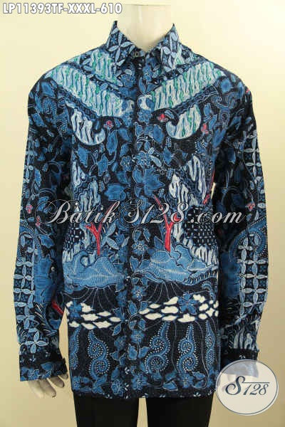 Busana Batik Premium Lengan Panjang Full Furing Warna Biru Hitam Elegan, Pakaian Batik Tulis Asli Motif Klasik Dengan Lapisan Furing, Bisa Untuk Kerja Dan Kondangan [LP11393TF-XXXL]