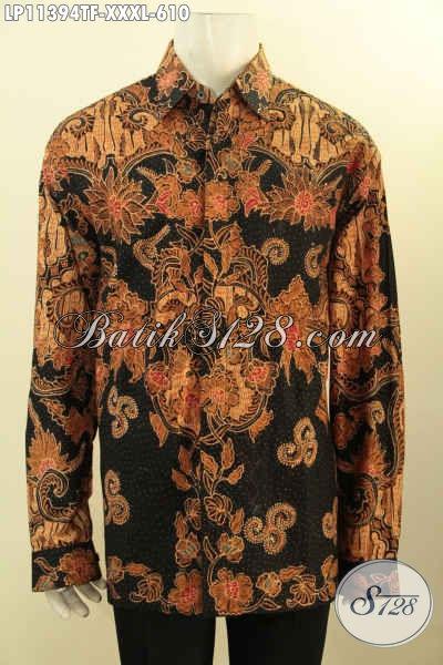 Baju Batik Hem Mewah Lengan Panjang, Pakaian Batik Eksklusif Untuk Pria Gemuk Untuk Penampilan Lebih Berkelas, Hadir Dengan Bahan Halus Motif Tulis Asli Dan Pakai Furing [LP11394TF-XXXL]