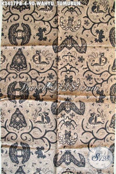 Kain Batik Elegan Mewah Motif Wahyu Tumurun, Batik Lawasan Proses Printing Cabut Nan Halus Cocok Untuk Bahan Jarik Upacara Adat