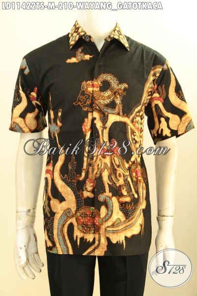 Baju Batik Cowok Keren Size M, Pakaian Batik Tulis Soga Motif Wayang Gatotkaca Lengan Pendek Modern Kwalitas Istimewa, Penampilan Terlihat Macho Dan Modis [LD11422TS-M]